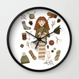forest knitting Wall Clock