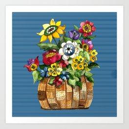 A Basket of Flowers Art Print