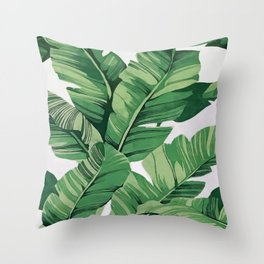 Tropical banana leaves VI Throw Pillow