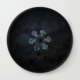 Real snowflake - Ice crown Wall Clock