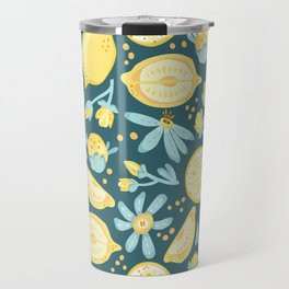 Lemon Pattern Green Travel Mug