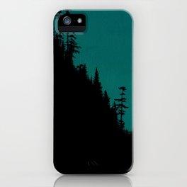 Int The Woods - Dark Forest Landsape - Teal iPhone Case