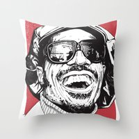 stevie nicks Throw Pillows featuring Stevie Wonder by Andy Christofi