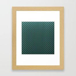 Chain Link Gleaming Aqua Green Metal Pattern Framed Art Print