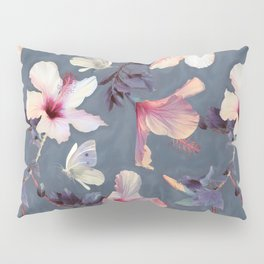 Butterflies and Hibiscus Flowers - a painted pattern Pillow Sham