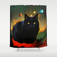 black cat Shower Curtains featuring black cat by ururuty
