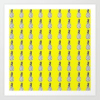 pinapple Art Prints featuring Yellow Pinapple by Robin101