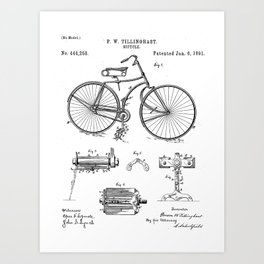 Bicycle Patent - Cyclling Art - Black And White Art Print