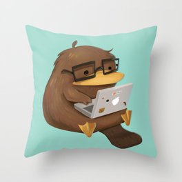 Nerdy Platypus Throw Pillow