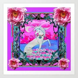 PEONY FLOWERS  & UNICORN FANTASY PURPLE  ART Art Print