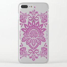 Damask in cyclamen Clear iPhone Case