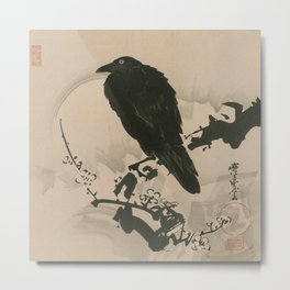 Full Moon with Crow on Plum Branch, Kawanabe Kyosai, 1800s Metal Print