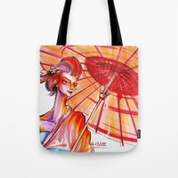 japanese Tote Bags featuring Japanese by Cemile Demir Uzunoglu