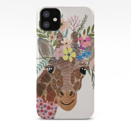 Giraffe with flowers on head iPhone Case