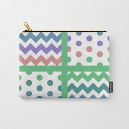 White/Multicolor Chevron/Polkadot 3 Teal Green Purple Blue Muted Color Palette Carry-All Pouch