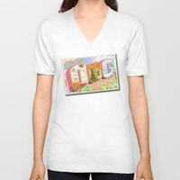 lemongrab V-neck T-shirts featuring Greetings from Ooo / Adventure Postcard by Lauren C Skinner