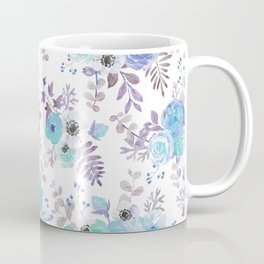 Lilac teal blue hand painted watercolor floral Coffee Mug