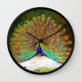 Archibald Thorburn - Peacock and Peacock Butterfly - Digital Remastered Edition Wall Clock