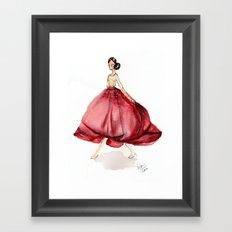 Red Fashion Watercolor Model Framed Art Print