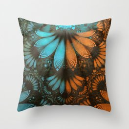 Shikoba Fractal -- Beautiful Leather, Feathers, and Turquoise Throw Pillow
