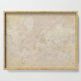Vintage world map in sepia and gold, Kellen Serving Tray