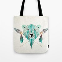 polar bear Tote Bags featuring polar bear by Manoou