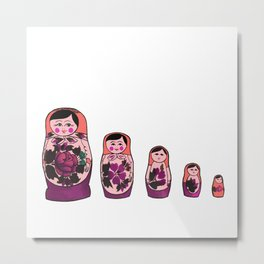 Nesting Dolls - Purple  Metal Print
