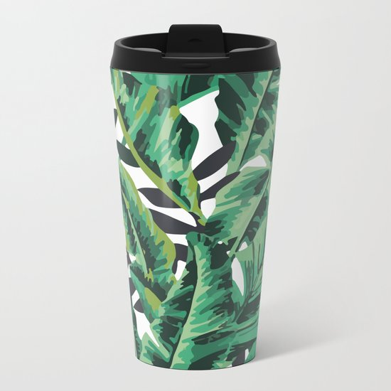 Tropical Glam Banana Leaf Print Metal Travel Mug