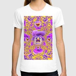 MODERN ART PURPLE-GOLDEN GARDEN PANSIES T-shirt