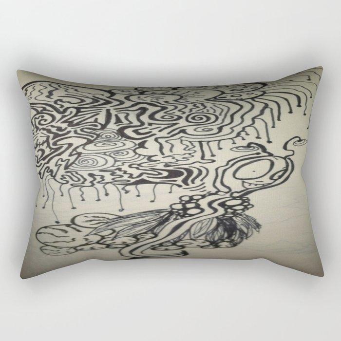 Alien Ink Doodle Rectangular Pillow