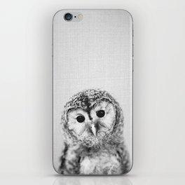 Baby Owl - Black & White iPhone Skin
