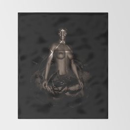 Black Queen Artistic Nude African American Woman  Rose  Throw Blanket