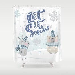 Let It Snow Winter Fun Illustration Shower Curtain