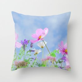 Dreamy Wildflowers Floral Feminine Flower Garden Throw Pillow