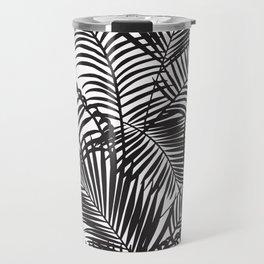 Modern black tropical palm trees pattern Travel Mug
