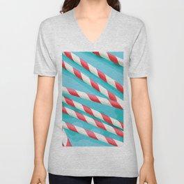 Christmas Candy Stripes Unisex V-Neck