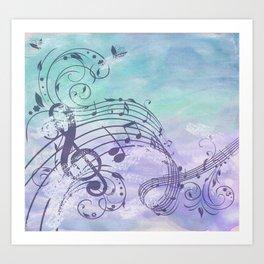 Music Notes Flutter Art Print