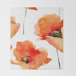 Modern hand painted orange watercolor poppies pattern Throw Blanket