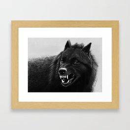Growling Black Wolf Framed Art Print