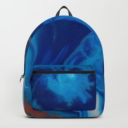 Fluid Nature - Blue Smoke - ABstract Acylic Pour Art Backpack