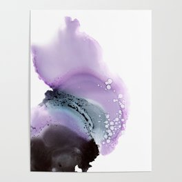 Abstract composition in purple and grey Poster