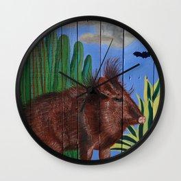 Javelina on Pallet Wall Clock