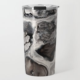 """Black, Silver and White Fluid Painting - """"Obsidian"""" Rock Travel Mug"""
