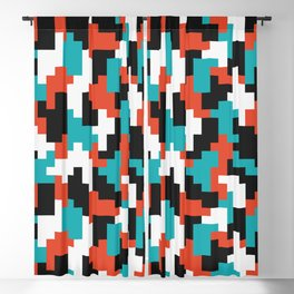 Colour blocking shapes red, teal Blackout Curtain