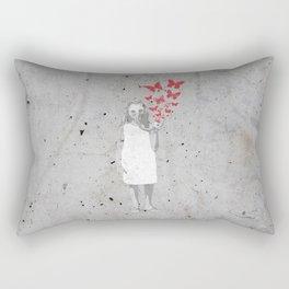 Butterfly Gas Mask (Flower Girl) Original Art Print Rectangular Pillow