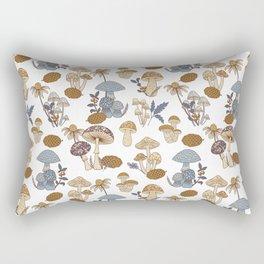 Mushroom Medley in Blue and Rust Rectangular Pillow