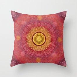 """Strawberry pink shades & Gold Mandala (pattern)"" Throw Pillow"
