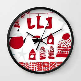 winter gear white Wall Clock