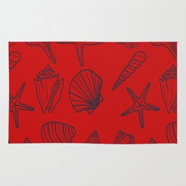Red and blue seashells pattern Rug