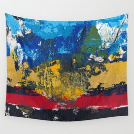 Lucas Abstract Painting Blue Black Yellow Wall Tapestry